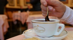 Hot chocolate cup inthe Rivoire cafeteria Stock Footage