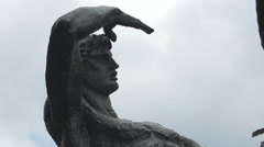 Close up view of the Physical Energy Statue in London Stock Footage