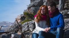 Couple  hiking outdoors at romantic place in mountain 17 Stock Footage
