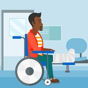 Patient sitting in wheelchair - stock illustration
