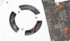 The cooling fan on the graphics card - stock photo