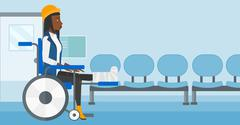 Patient sitting in wheelchair - stock illustration