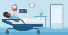 Patient lying in hospital bed Stock Illustration