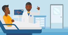 Doctor visiting patient - stock illustration
