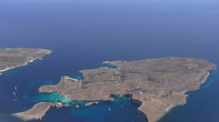Blue Lagoon, Comino island,Malta, aerial view Stock Footage
