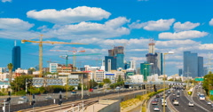 Tel Aviv And Ayalon Freeway At Day Time Lapse. Pan Right Stock Footage