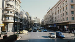 4k Athens aerial panepistimiou street traffic pov back view Stock Footage