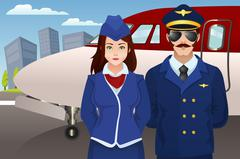 Pilot and Flight Attendant in Front of the Airplane - stock illustration