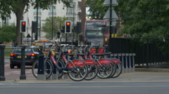 Bikes parked on the street in London Stock Footage