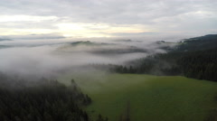 Fog on Synevir lake in Carpathians. Aerial view - stock footage