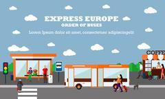 Mode of Transport concept vector illustration. Bus stop banner. City Stock Illustration