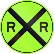 United States MUTCD non-compliant road sign - Railroad crossing - stock illustration