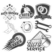 Vector set of auto service labels in vintage style. Car repair shop banners - stock illustration