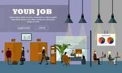Flat design of business people or office workers. Office interior banner Stock Illustration