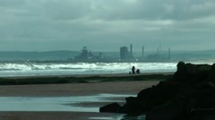 Steel works across bay Stock Footage