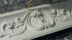Ornament on gypsum cornice. Stock Footage
