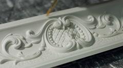 Ornament on gypsum cornice. - stock footage