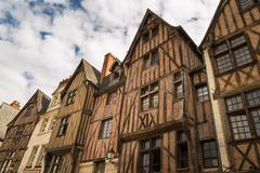 Picturesque half-timbered houses in Tours, France - stock photo