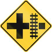 United States MUTCD road sign - Level crossing and intersection Stock Illustration