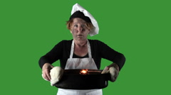 Kitchen Disasters, Woman with Apron and Chefs Hat Stock Footage