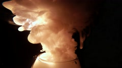 White Smoke Active Comes From a Glass Vessel in the Impenetrable Darkness - stock footage