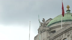 Soldier statue on a building in Piccadilly Circus in London Stock Footage