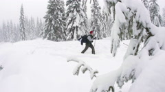Hiker on Snowshoe Adventure Up Snowy Trail in Mountain Forest Stock Footage