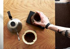 Coffee pour over top view - stock photo