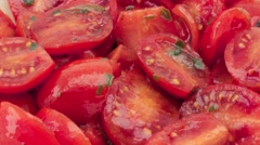 Red cherry tomato with basil and balsamic vinegar. Stock Footage