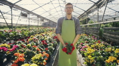 Blooming flower. Handsome male florist smiling widely while presenting beautiful Stock Footage