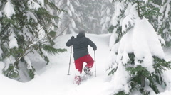 Hiker with Snowshoes and Poles Walking Up Steep Powder Hill Stock Footage