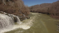 4k Aerial Winter Tennessee Waterfall Hover 003 Close Pan Left Stock Footage