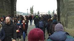 Walkingtourists  Charles,Karlov Bridge,Prague,Praha,Czech Republic slow motion Stock Footage