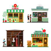 Cool set of detailed flat design city public buildings - stock illustration