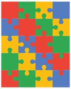 colorful puzzle vector - stock illustration