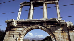 100p aerial parallax view of the Arch of hadrian,street view,sightseeing. Stock Footage