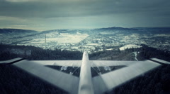 Military drone surveillance in winter - stock footage