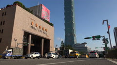 Stock Video Footage of Traffic drives past Taipei City Hall, administrative center local government