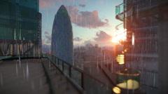 London at sunrise, Military Chopper passing, Swiss Reinsurance Headquarters,  Stock Footage