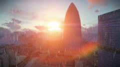 London time lapse sunrise, Swiss Reinsurance Headquarters, The Gherkin, raining Stock Footage