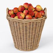 Wicker Basket Ikea Nipprig with Apples - 3D model