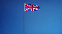 Great britain flag in slow motion seamlessly looped with alpha - stock footage