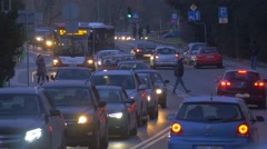 Evening Cityscape Opole Poland City Day Headlights Man is Crossing a Road Cars Stock Footage