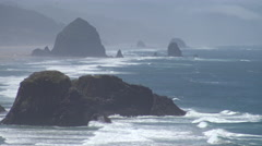Haystack Rock northern static view - stock footage