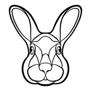 Head of a rabbit, hare coloring - stock illustration