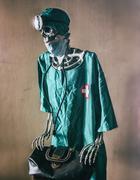 Skeleton Doctor Scrubs - stock photo