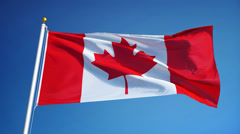 Canada flag in slow motion seamlessly looped with alpha Stock Footage