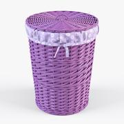 Wicker Laundry Basket 03 Purple Color - 3D model