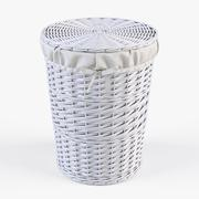 Wicker Laundry Basket 03 White Color - 3D model