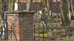 Cars Are Passing by Crosses Old Tombs at Cemetery in Sunny Day Burial Place Stock Footage